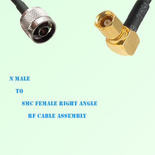 N Male to SMC Female Right Angle RF Cable Assembly