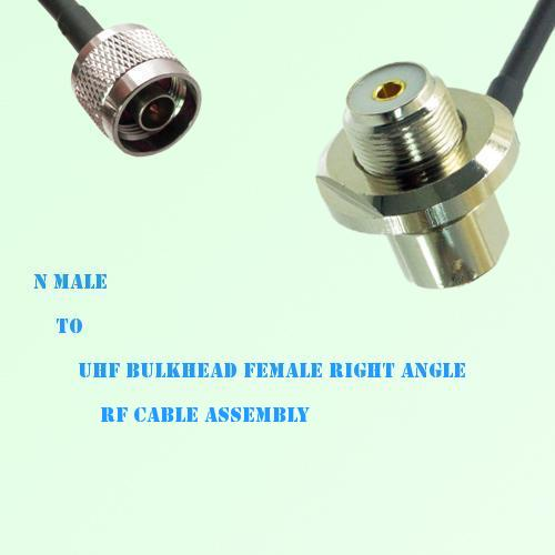 N Male to UHF Bulkhead Female Right Angle RF Cable Assembly