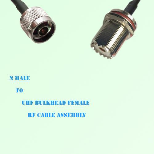 N Male to UHF Bulkhead Female RF Cable Assembly