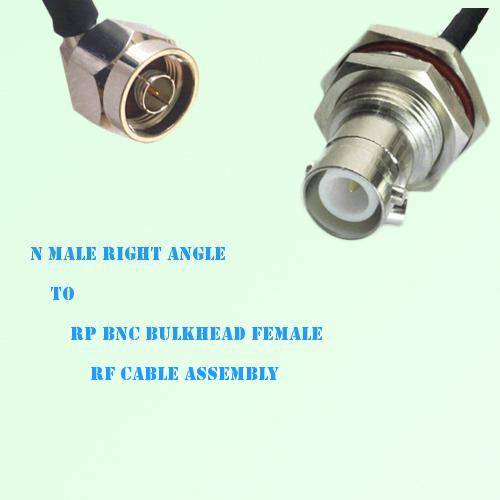 N Male Right Angle to RP BNC Bulkhead Female RF Cable Assembly