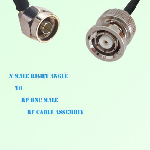 N Male Right Angle to RP BNC Male RF Cable Assembly