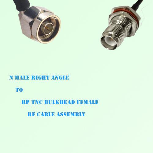 N Male Right Angle to RP TNC Bulkhead Female RF Cable Assembly