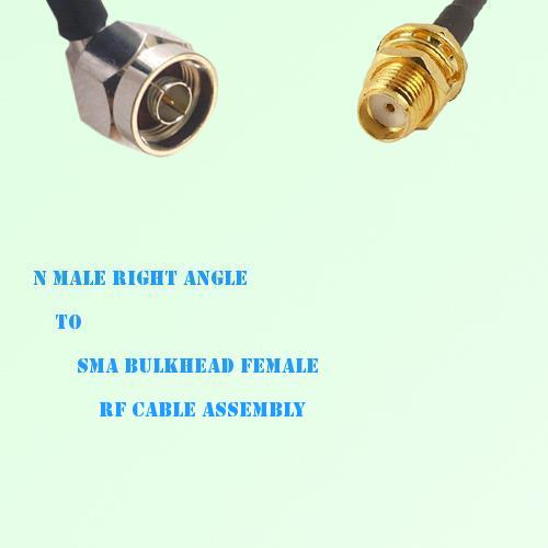 N Male Right Angle to SMA Bulkhead Female RF Cable Assembly