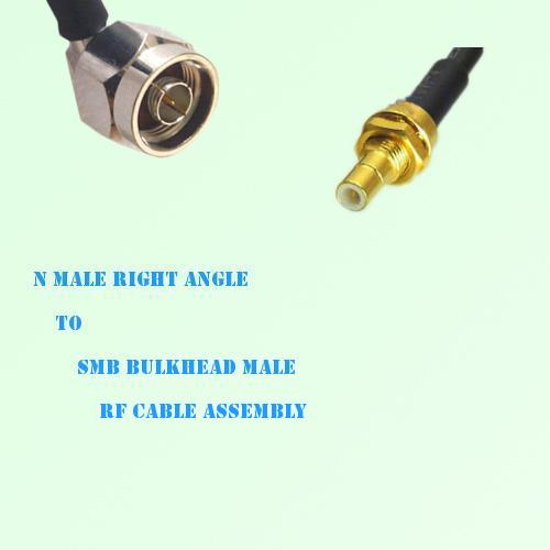 N Male Right Angle to SMB Bulkhead Male RF Cable Assembly