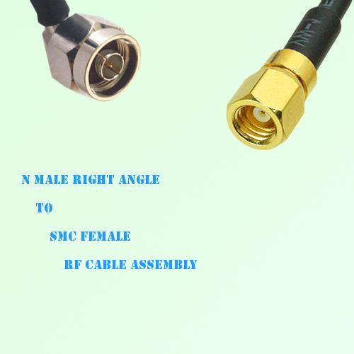 N Male Right Angle to SMC Female RF Cable Assembly