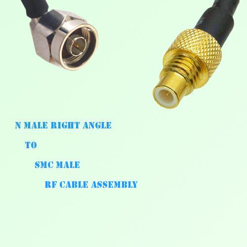 N Male Right Angle to SMC Male RF Cable Assembly