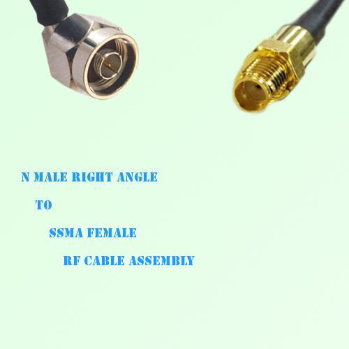 N Male Right Angle to SSMA Female RF Cable Assembly