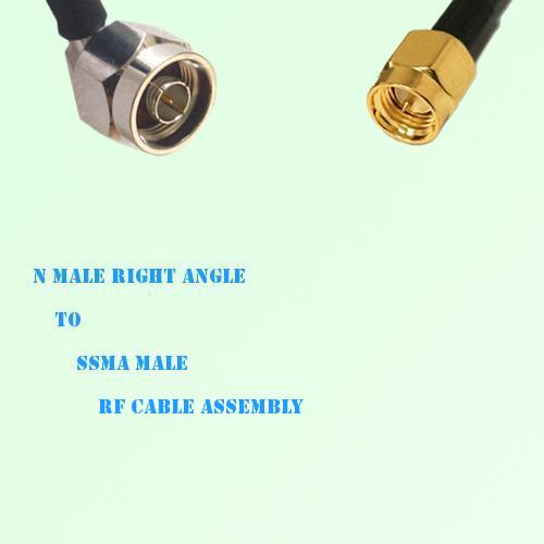 N Male Right Angle to SSMA Male RF Cable Assembly