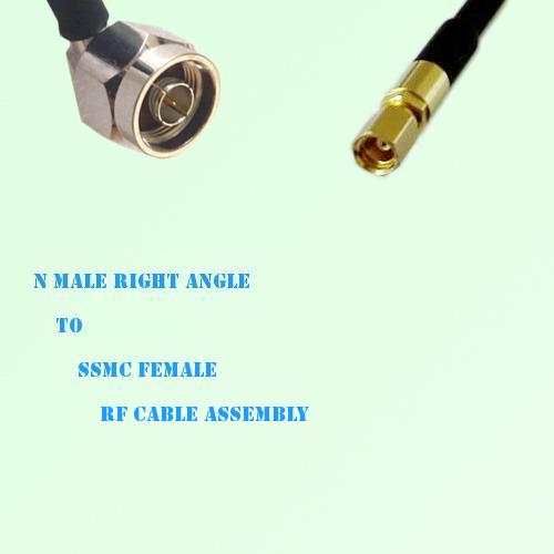 N Male Right Angle to SSMC Female RF Cable Assembly