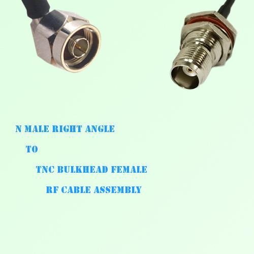 N Male Right Angle to TNC Bulkhead Female RF Cable Assembly