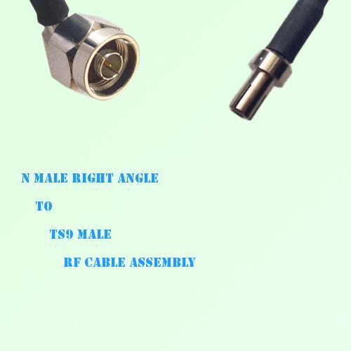 N Male Right Angle to TS9 Male RF Cable Assembly