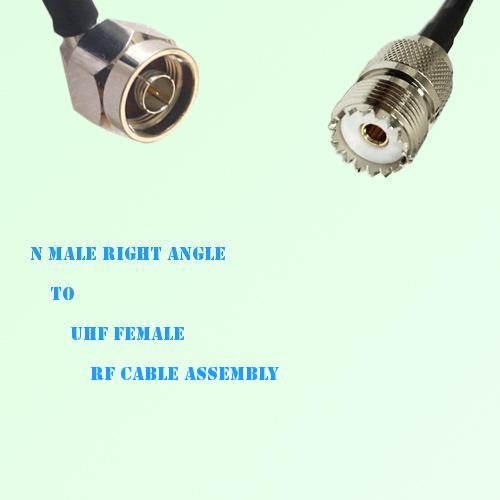 N Male Right Angle to UHF Female RF Cable Assembly