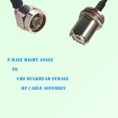 N Male Right Angle to UHF Bulkhead Female RF Cable Assembly