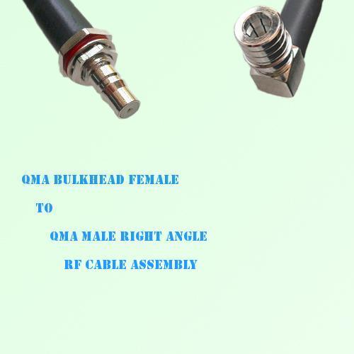 QMA Bulkhead Female to QMA Male Right Angle RF Cable Assembly