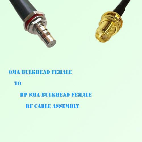 QMA Bulkhead Female to RP SMA Bulkhead Female RF Cable Assembly