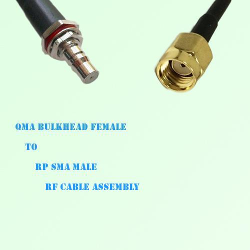 QMA Bulkhead Female to RP SMA Male RF Cable Assembly