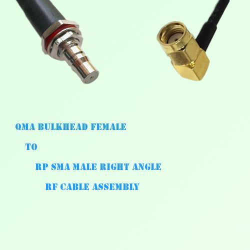 QMA Bulkhead Female to RP SMA Male Right Angle RF Cable Assembly