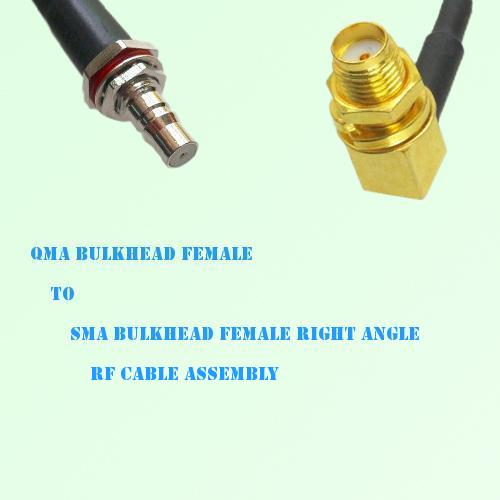 QMA Bulkhead Female to SMA Bulkhead Female R/A RF Cable Assembly