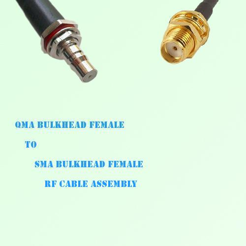 QMA Bulkhead Female to SMA Bulkhead Female RF Cable Assembly
