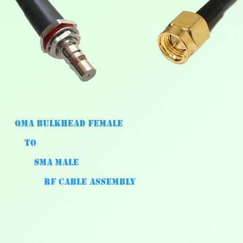 QMA Bulkhead Female to SMA Male RF Cable Assembly