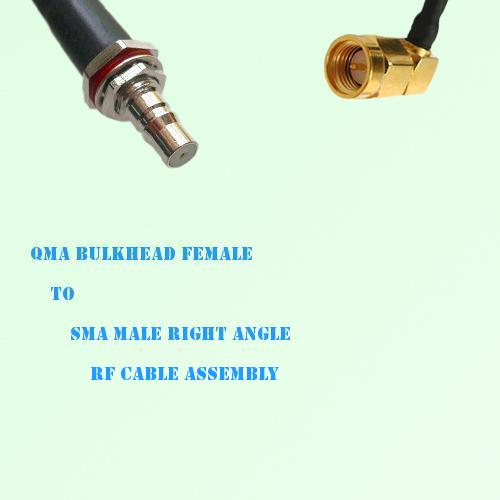 QMA Bulkhead Female to SMA Male Right Angle RF Cable Assembly