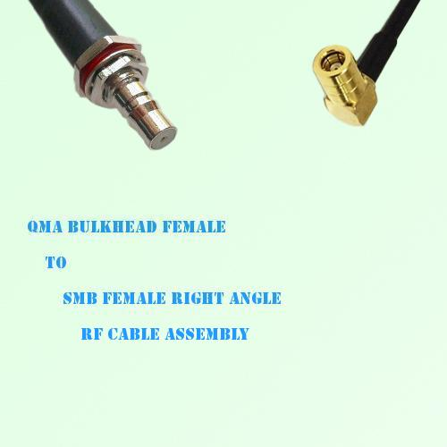 QMA Bulkhead Female to SMB Female Right Angle RF Cable Assembly