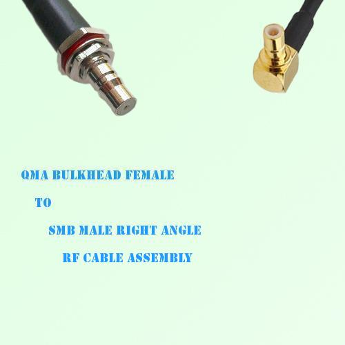QMA Bulkhead Female to SMB Male Right Angle RF Cable Assembly