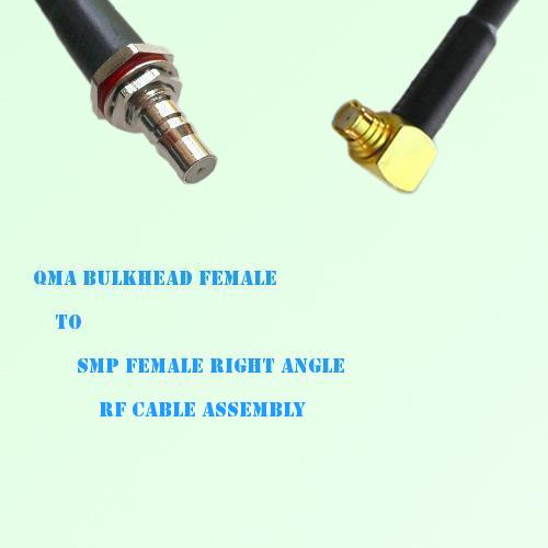 QMA Bulkhead Female to SMP Female Right Angle RF Cable Assembly