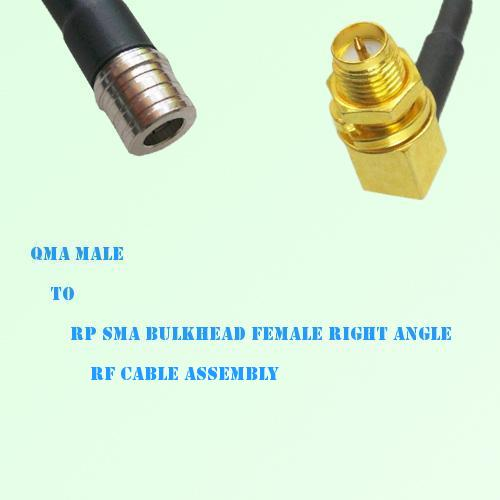 QMA Male to RP SMA Bulkhead Female Right Angle RF Cable Assembly
