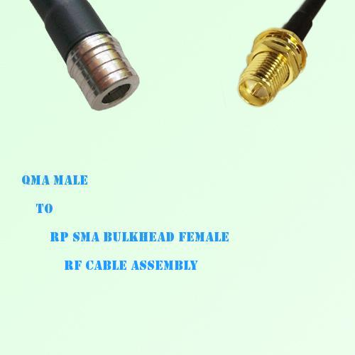 QMA Male to RP SMA Bulkhead Female RF Cable Assembly