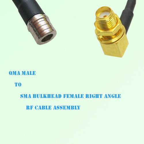 QMA Male to SMA Bulkhead Female Right Angle RF Cable Assembly
