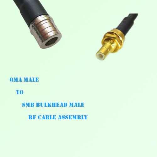 QMA Male to SMB Bulkhead Male RF Cable Assembly