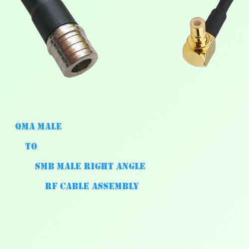 QMA Male to SMB Male Right Angle RF Cable Assembly