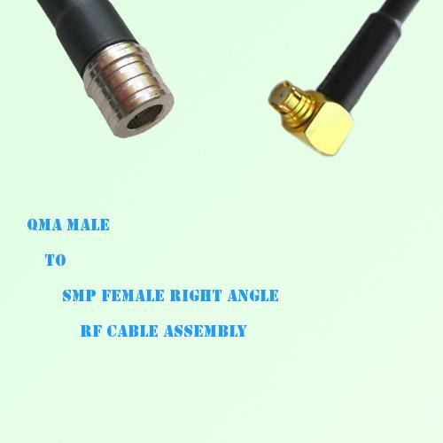 QMA Male to SMP Female Right Angle RF Cable Assembly