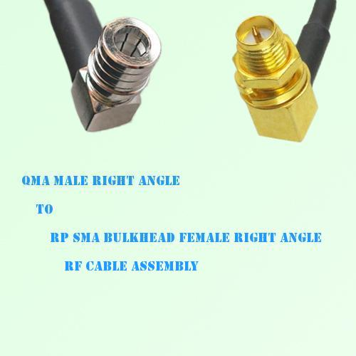 QMA Male R/A to RP SMA Bulkhead Female R/A RF Cable Assembly