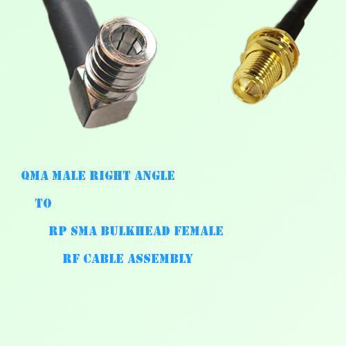 QMA Male Right Angle to RP SMA Bulkhead Female RF Cable Assembly