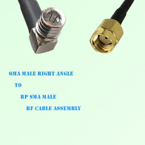 QMA Male Right Angle to RP SMA Male RF Cable Assembly