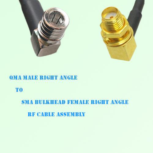 QMA Male R/A to SMA Bulkhead Female R/A RF Cable Assembly