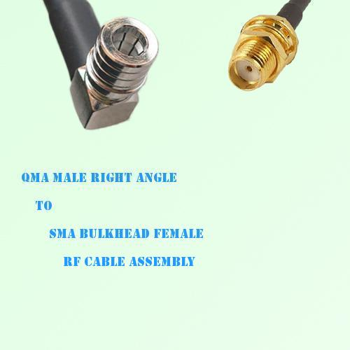 QMA Male Right Angle to SMA Bulkhead Female RF Cable Assembly