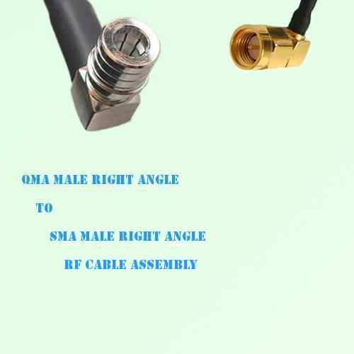 QMA Male Right Angle to SMA Male Right Angle RF Cable Assembly