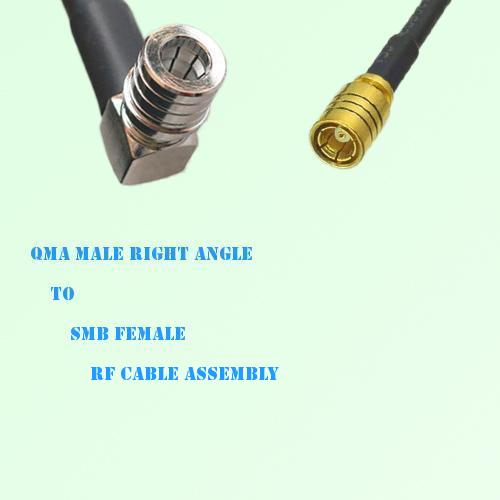 QMA Male Right Angle to SMB Female RF Cable Assembly
