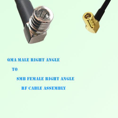 QMA Male Right Angle to SMB Female Right Angle RF Cable Assembly