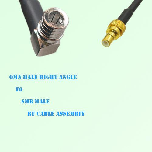 QMA Male Right Angle to SMB Male RF Cable Assembly