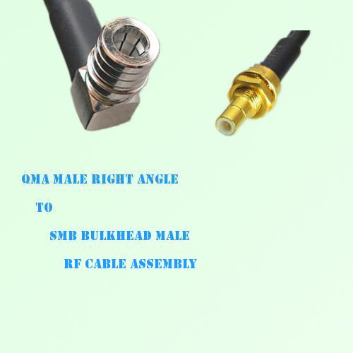 QMA Male Right Angle to SMB Bulkhead Male RF Cable Assembly