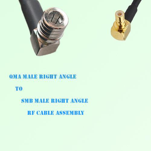 QMA Male Right Angle to SMB Male Right Angle RF Cable Assembly