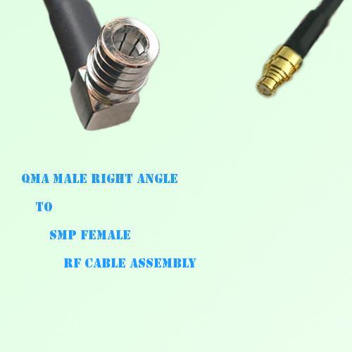 QMA Male Right Angle to SMP Female RF Cable Assembly