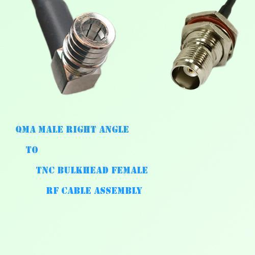 QMA Male Right Angle to TNC Bulkhead Female RF Cable Assembly