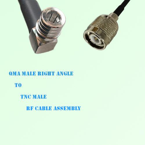 QMA Male Right Angle to TNC Male RF Cable Assembly