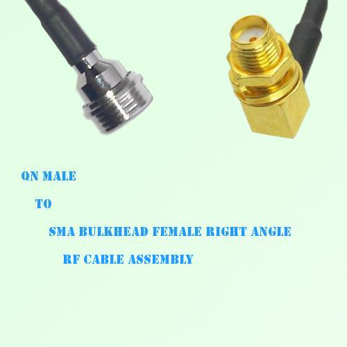 QN Male to SMA Bulkhead Female Right Angle RF Cable Assembly