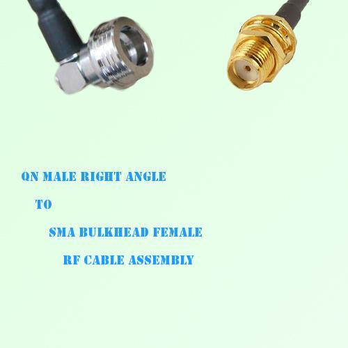 QN Male Right Angle to SMA Bulkhead Female RF Cable Assembly
